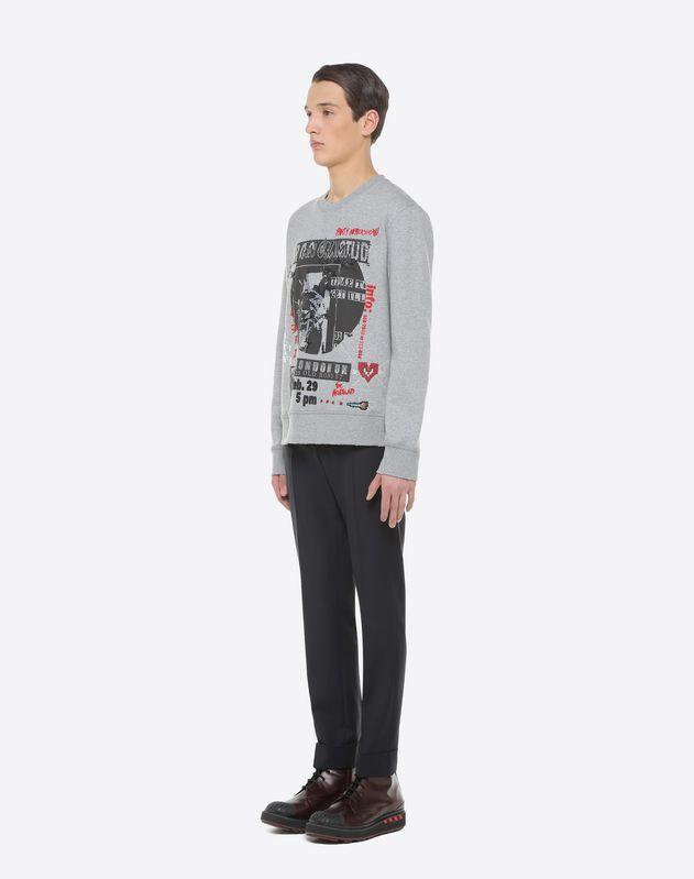 Sweatshirt mit Rundhalsausschnitt und Konzert-Print mit Stickerei