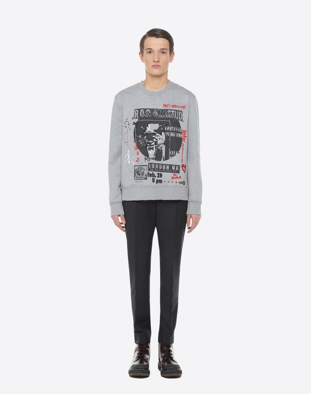 Concert-print crew-neck sweatshirt with embroidered detailing