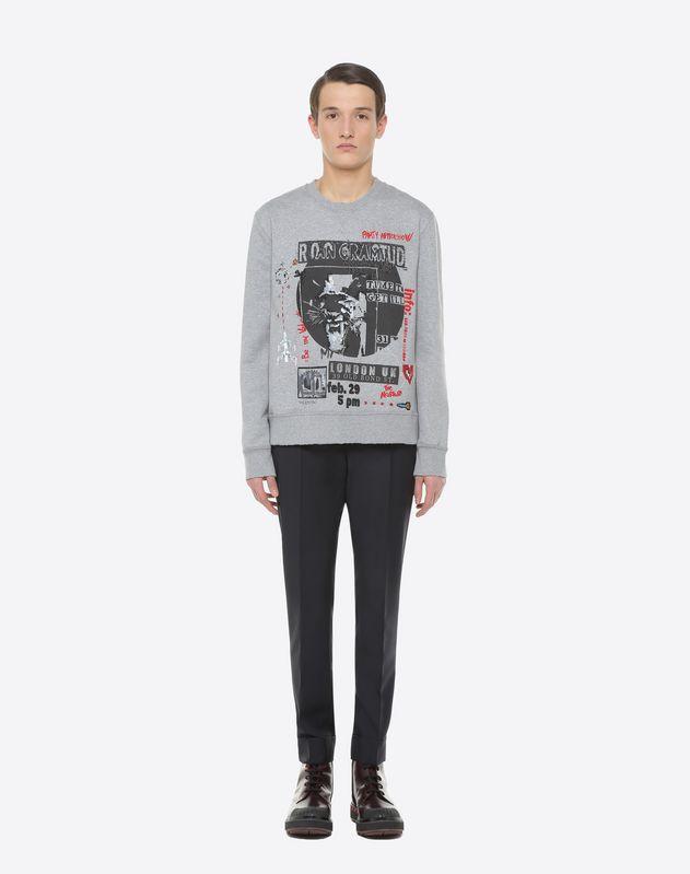 Concert-print crew-neck sweatshirt with embroidered detailing