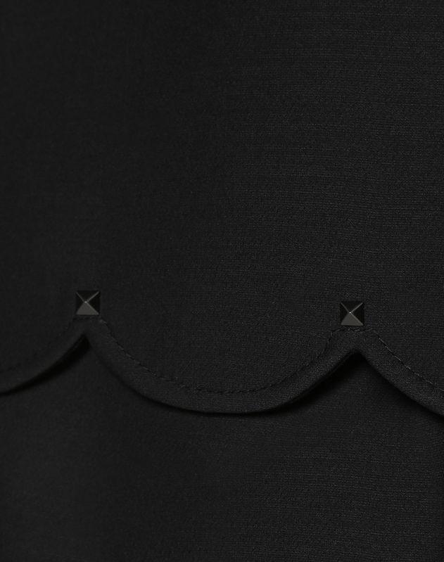 Top mit Muschelborten aus Crêpe Couture