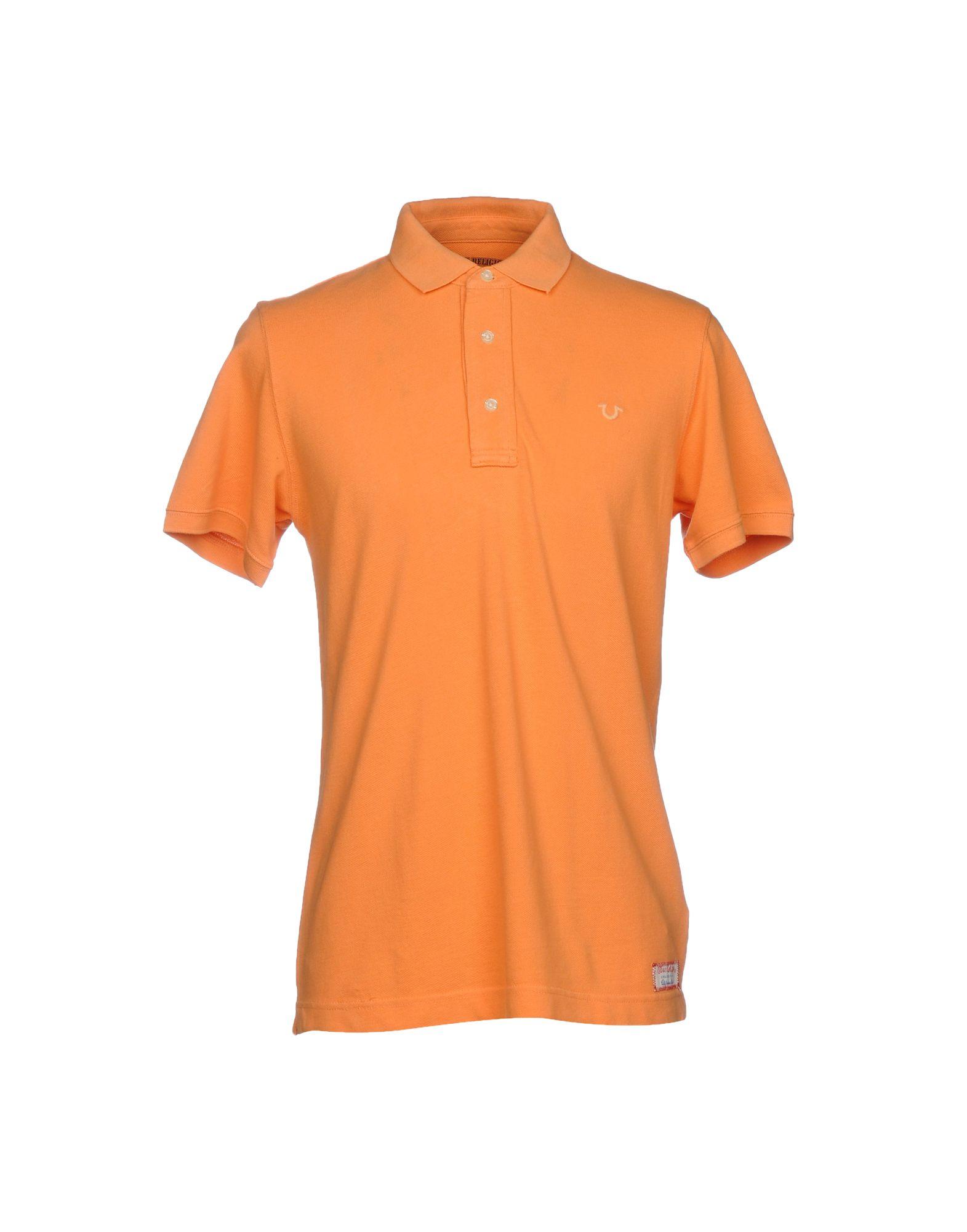 TRUE RELIGION メンズ ポロシャツ オレンジ S コットン 100%