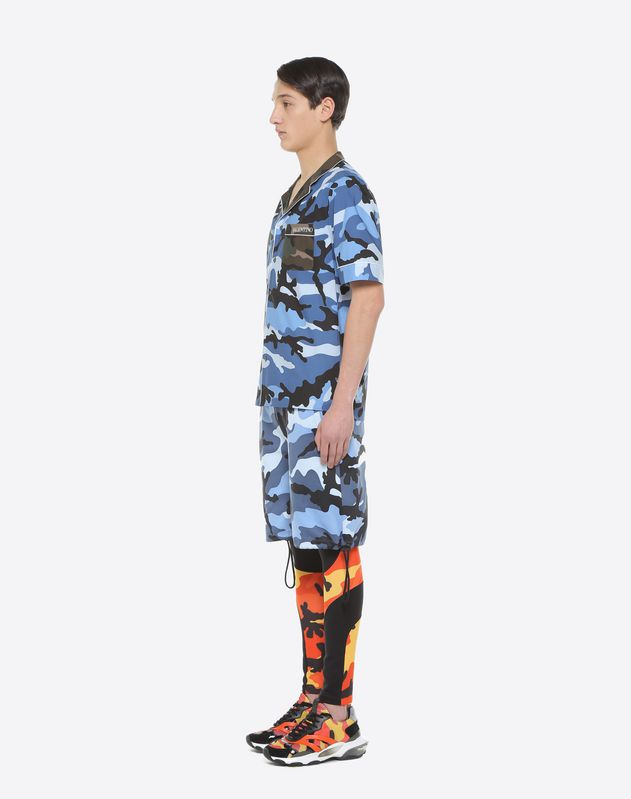 Camouflage-print bowling shirt