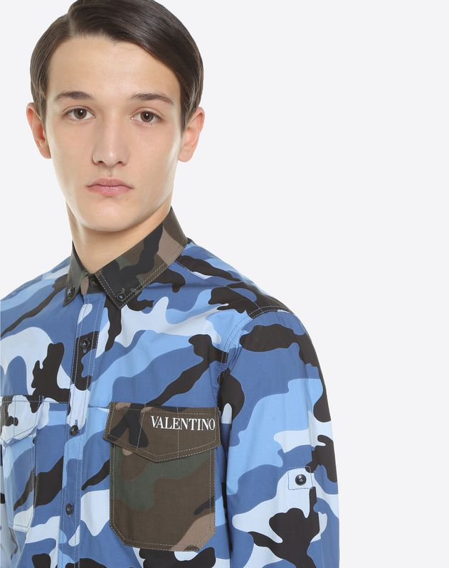 Поплиновая рубашка с камуфляжным мотивом
