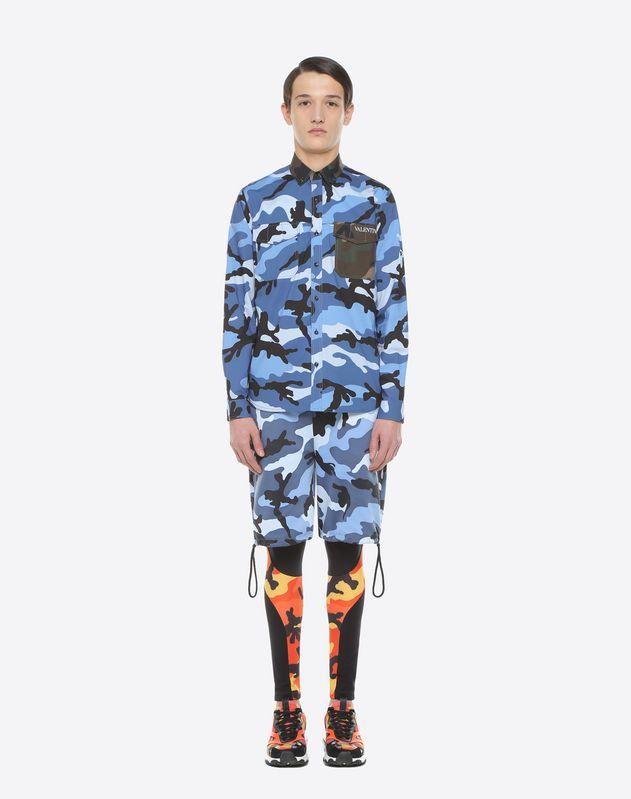 Camouflage-print poplin shirt