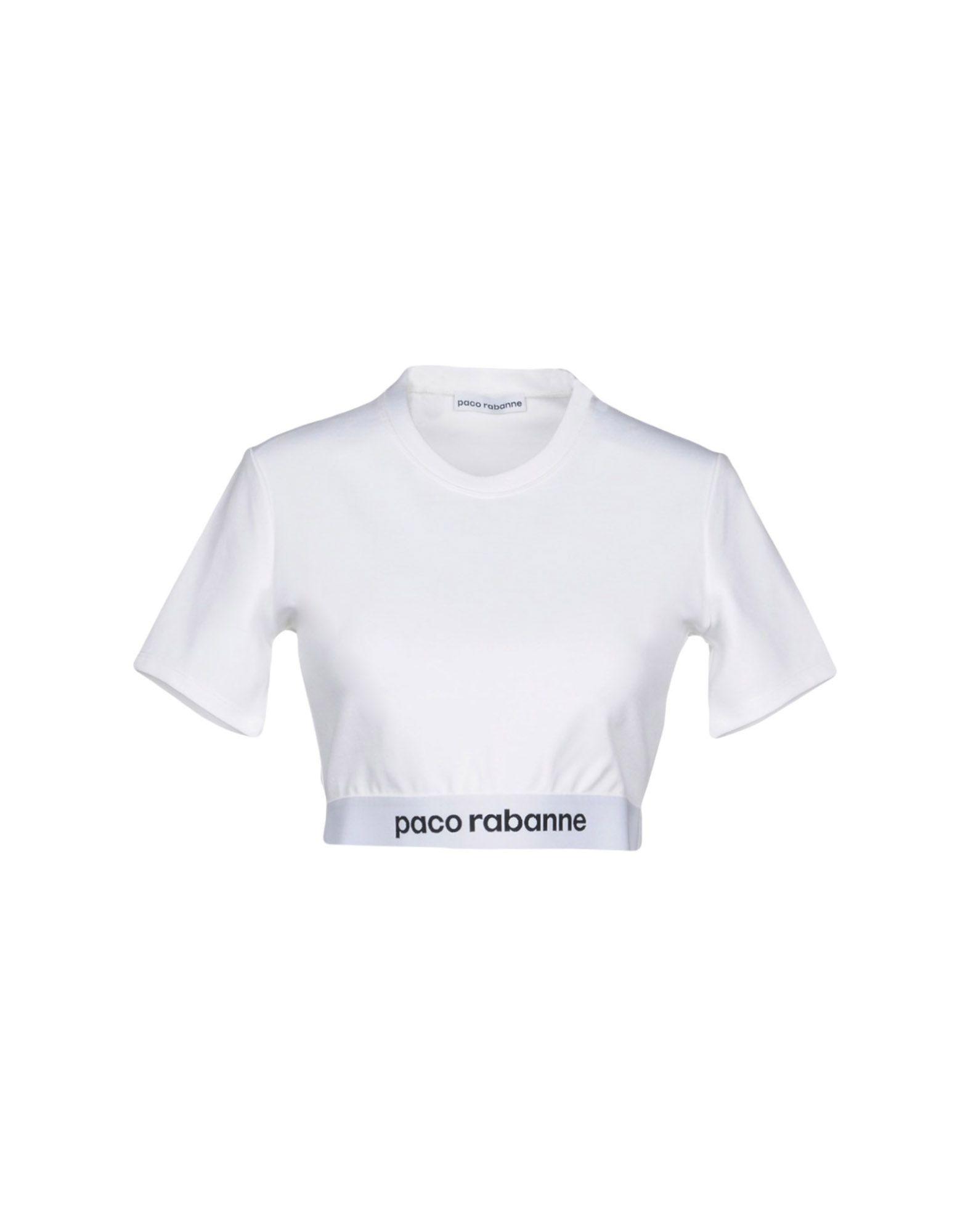 《セール開催中》PACO RABANNE レディース T シャツ ホワイト M 84% レーヨン 11% ナイロン 5% ポリウレタン