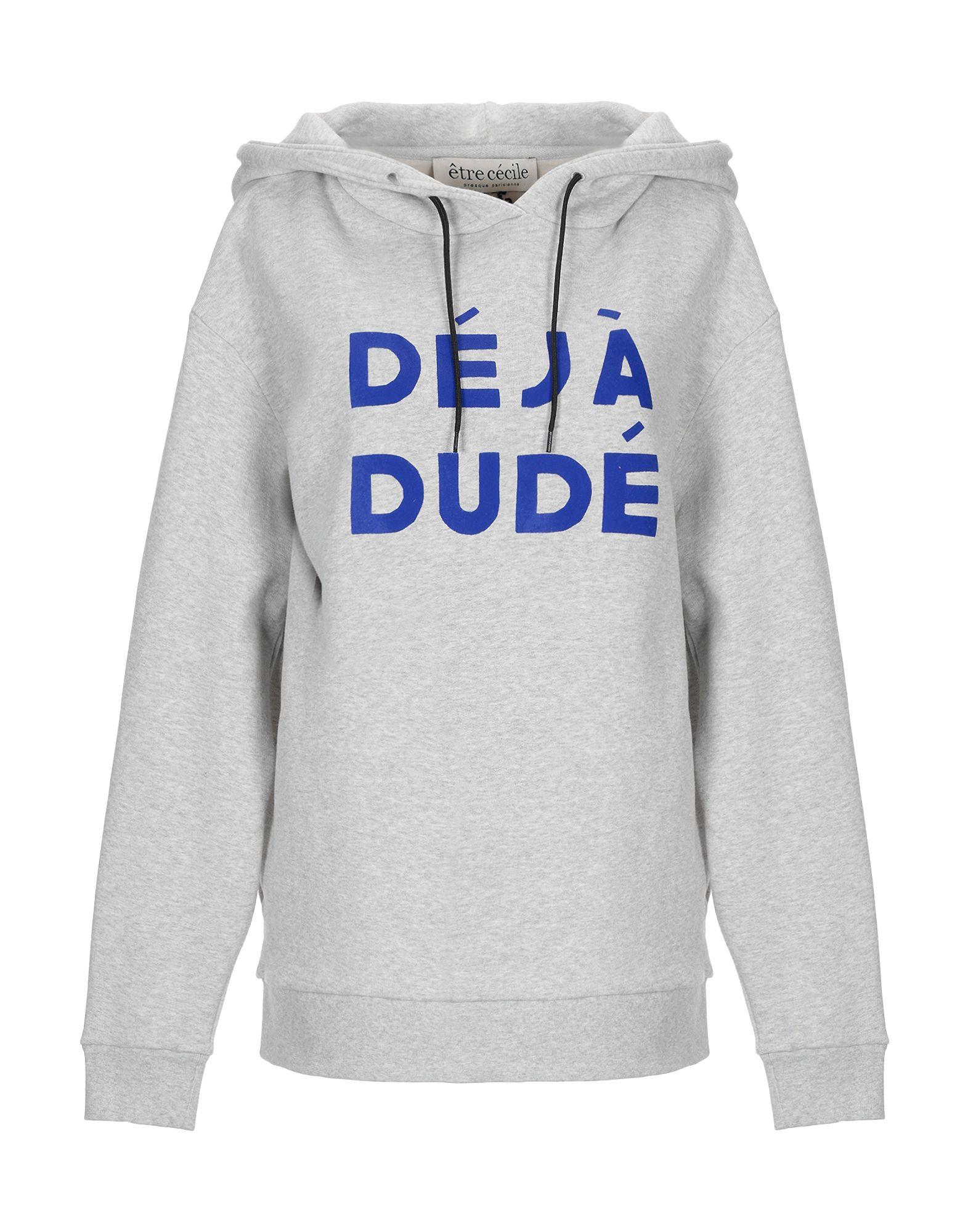 《送料無料》?TRE C?CILE レディース スウェットシャツ ライトグレー L コットン 100% DEJA DUDE BOYFRIEND SWEATSHIRT