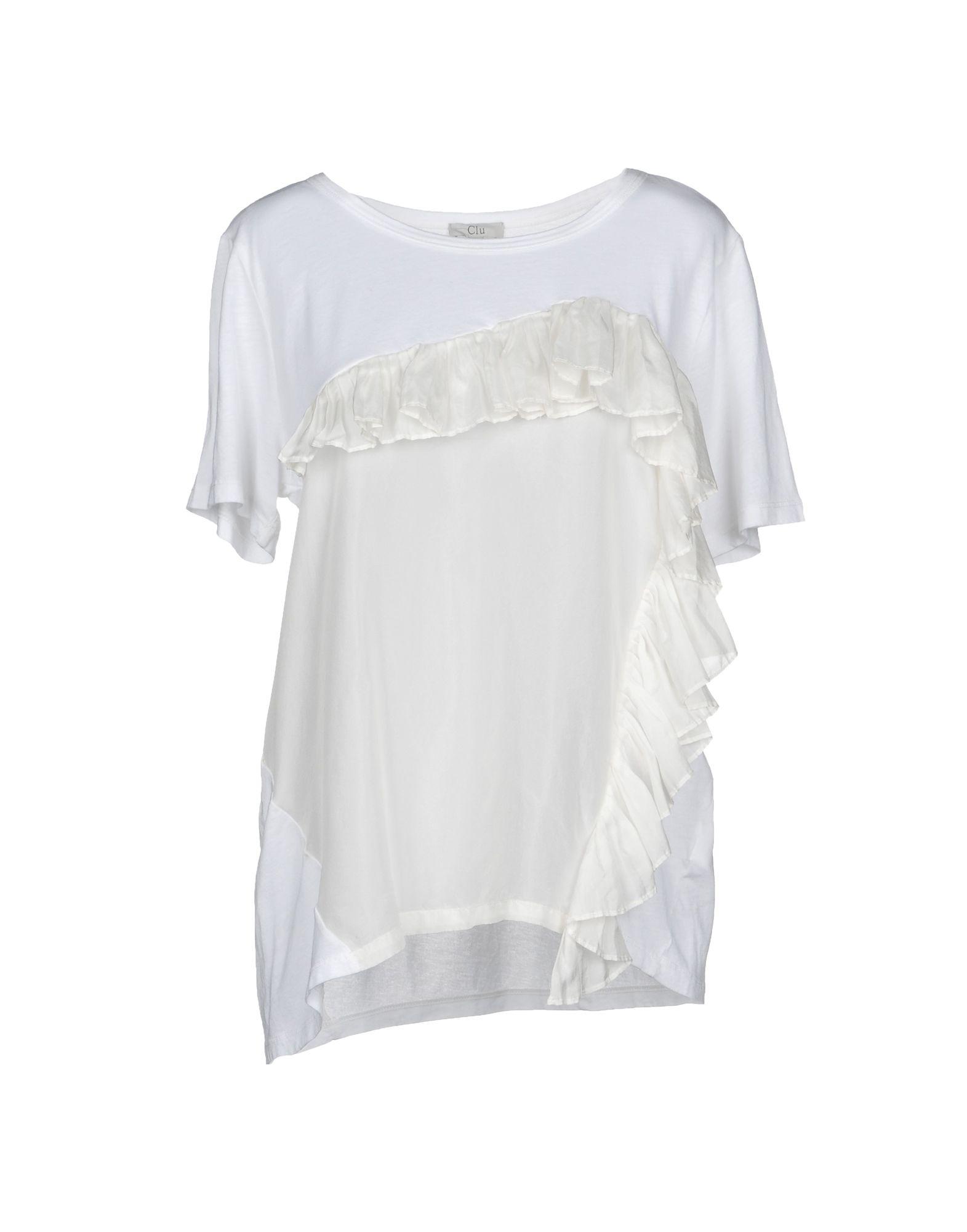 《セール開催中》CLU レディース T シャツ ホワイト M コットン 50% / レーヨン 50% / シルク