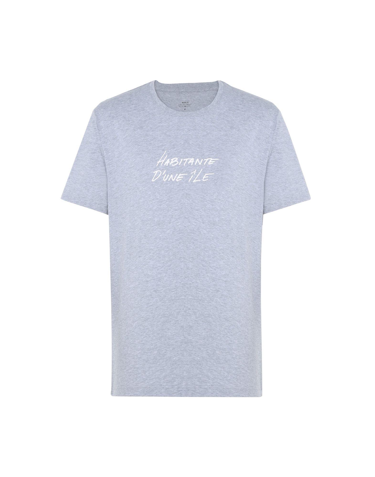 《送料無料》MAKIA メンズ T シャツ ライトグレー S コットン 100% HABITANT T-SHIRT
