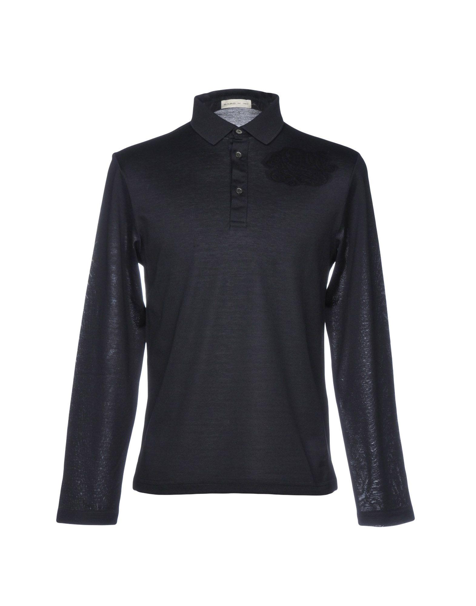 《送料無料》ETRO メンズ ポロシャツ ダークブルー S コットン 100%