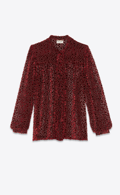 SAINT LAURENT Tops and Blouses Woman Lavallière blouse in burgundy snowflake velvet with a dotted swiss effect. a_V4