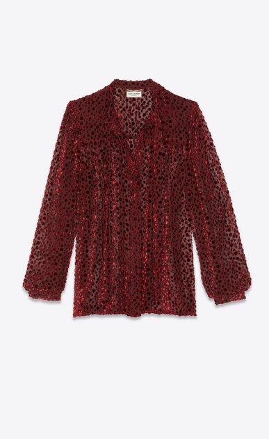SAINT LAURENT Tops and Blouses Woman Lavallière blouse in burgundy snowflake velvet with a dotted swiss effect. b_V4