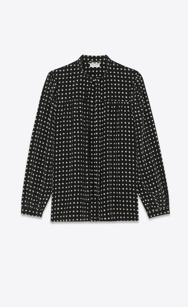 SAINT LAURENT Tops and Blouses Woman Tie blouse with star print in black a_V4