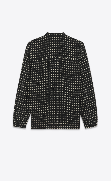 SAINT LAURENT Tops and Blouses Woman Tie blouse with star print in black b_V4