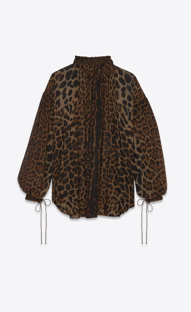 SAINT LAURENT Tops and Blouses Woman Peasant blouse in leopard print b_V4