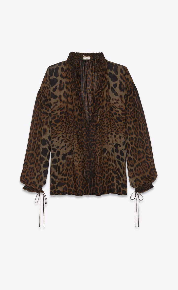Blouse paysanne lacée en étamine léopard