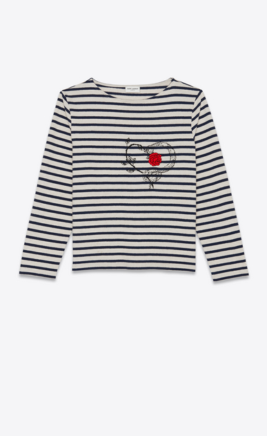 SAINT LAURENT T-Shirt and Jersey Woman Embroidered mariniere in blue and white stripes a_V4