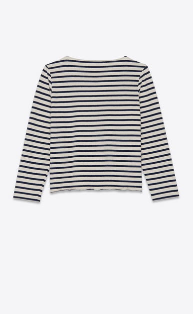 SAINT LAURENT T-Shirt and Jersey Woman Embroidered mariniere in blue and white stripes b_V4
