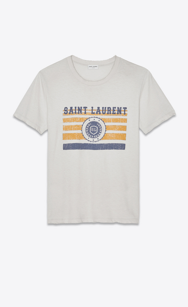 SAINT LAURENT T-Shirt & Jersey Damen Saint Laurent University Boyfriend-T-Shirt aus off-White-farbenem Jerseystoff a_V4