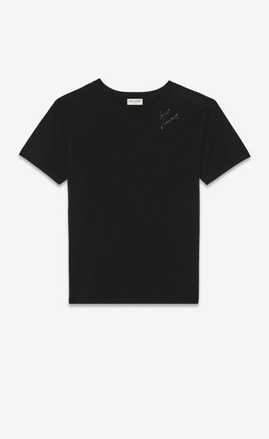 SAINT LAURENT T-Shirt and Jersey Woman Saint Laurent signature embroidered t-shirt a_V4
