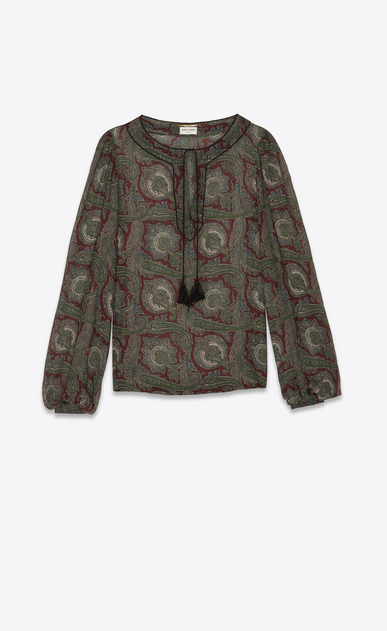 SAINT LAURENT Tops and Blouses Woman Peasant blouse in burgundy and green paisley print a_V4
