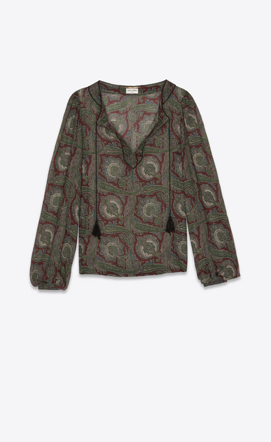 SAINT LAURENT Tops and Blouses Woman Peasant blouse in burgundy and green paisley print b_V4