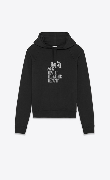SAINT LAURENT Sportswear Tops Woman Hooded sweatshirt with 1971 Saint Laurent in faded black cotton fleece a_V4