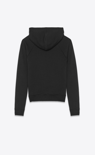 SAINT LAURENT Sportswear Tops Woman Hooded sweatshirt with 1971 Saint Laurent in faded black cotton fleece b_V4