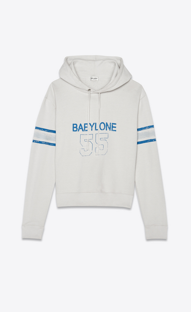 SAINT LAURENT Sportswear Tops Woman Hooded Babylone sweatshirt in ecru a_V4