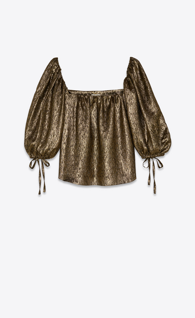SAINT LAURENT Tops and Blouses Woman Blouse in gold silk jacquard a_V4