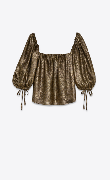 SAINT LAURENT Tops and Blouses Woman Blouse in gold silk jacquard b_V4