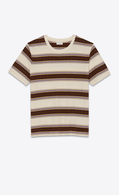 SAINT LAURENT T-Shirt and Jersey Man T-shirt with beige, khaki and purple stripes a_V4