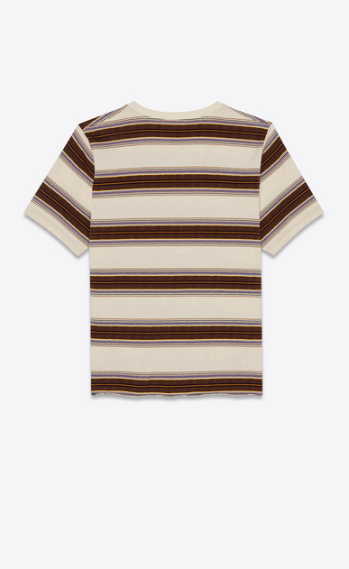 SAINT LAURENT T-Shirt and Jersey Man T-shirt with beige, khaki and purple stripes b_V4