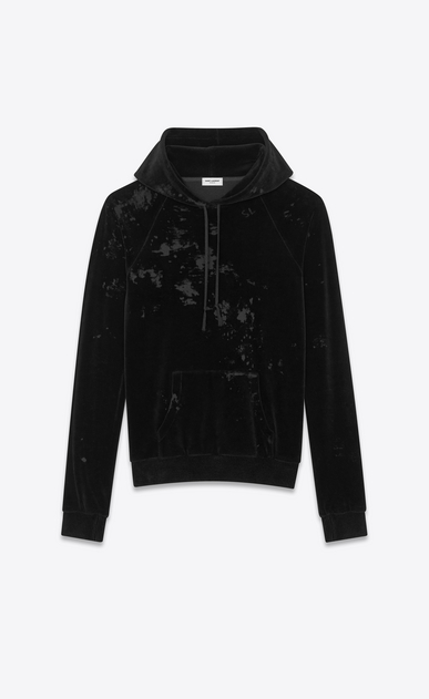 SAINT LAURENT Sportswear Tops Man Hooded sweatshirt in black velvet a_V4