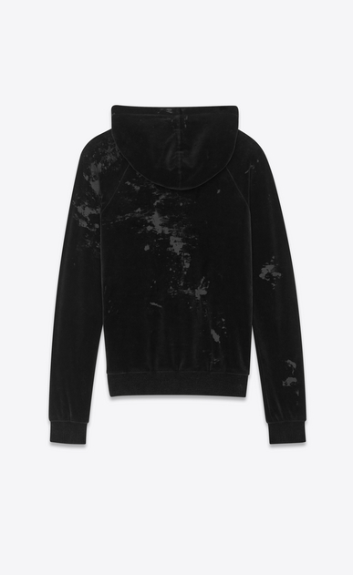 SAINT LAURENT Sportswear Tops Man Hooded sweatshirt in black velvet b_V4