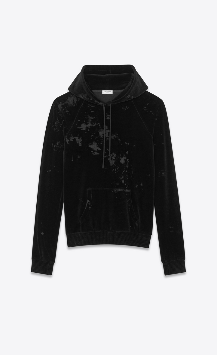 SAINT LAURENT Distressed Cotton-Blend Velvet Hoodie - Black