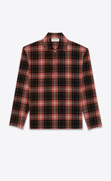 SAINT LAURENT Tunic Man Zip front flannel shirt in checked black and red a_V4