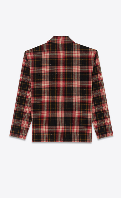 SAINT LAURENT Tunic Man Zip front flannel shirt in checked black and red b_V4