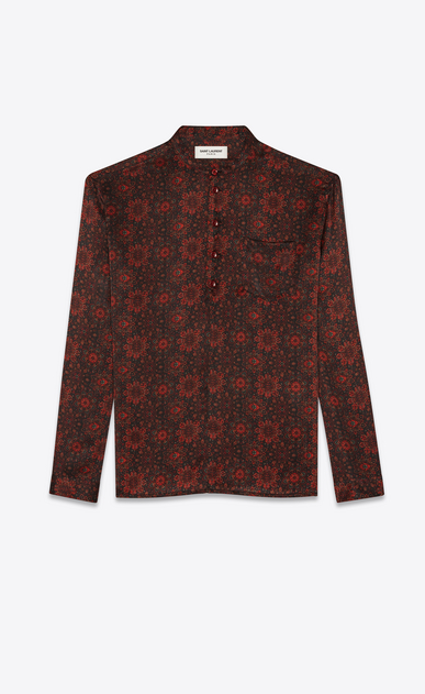 SAINT LAURENT Tunic Man Floral print tunic in black and red satin a_V4
