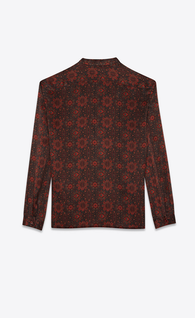 SAINT LAURENT Tunic Man Tunic shirt in black and red floral print b_V4
