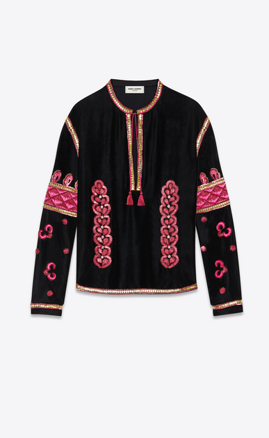 SAINT LAURENT Tunic Homme Tunique à broderies folk en velours de soie noir a_V4