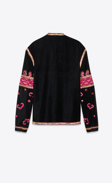 SAINT LAURENT Tunic Homme Tunique à broderies folk en velours de soie noir b_V4