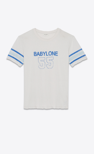 SAINT LAURENT T-Shirt and Jersey Man T-shirt with Babylone 55 in ecru a_V4
