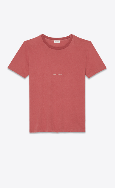 SAINT LAURENT T-Shirt and Jersey Man T-shirt with Saint Laurent square in faded red a_V4