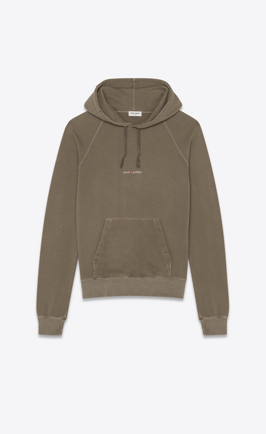 SAINT LAURENT Sportswear Tops Man Hooded sweatshirt with Saint Laurent in faded gray a_V4