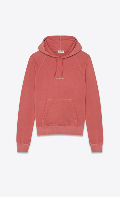 SAINT LAURENT Sportswear Tops Man Hooded sweatshirt with Saint Laurent in faded red a_V4