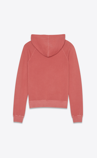 SAINT LAURENT Sportswear Tops Man Hooded sweatshirt with Saint Laurent in faded red b_V4