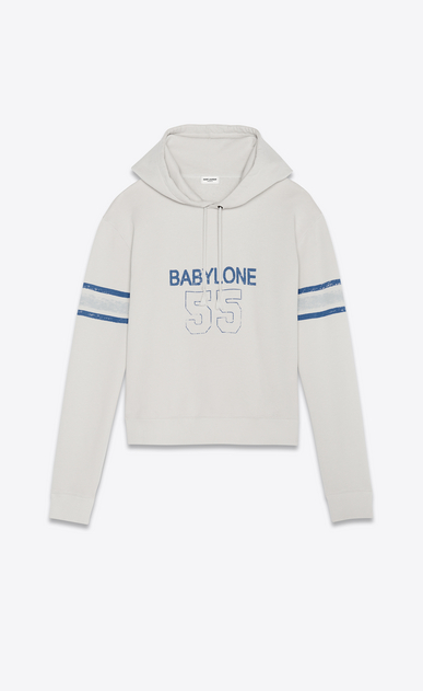 SAINT LAURENT Sportswear Tops Man Hooded sweatshirt with 1971 Saint Laurent in ecru a_V4