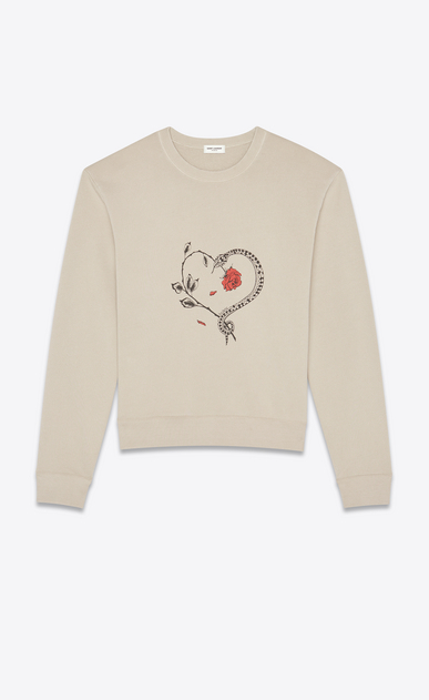 SAINT LAURENT Sportswear Tops Man Sweatshirt with snake heart print in beige a_V4