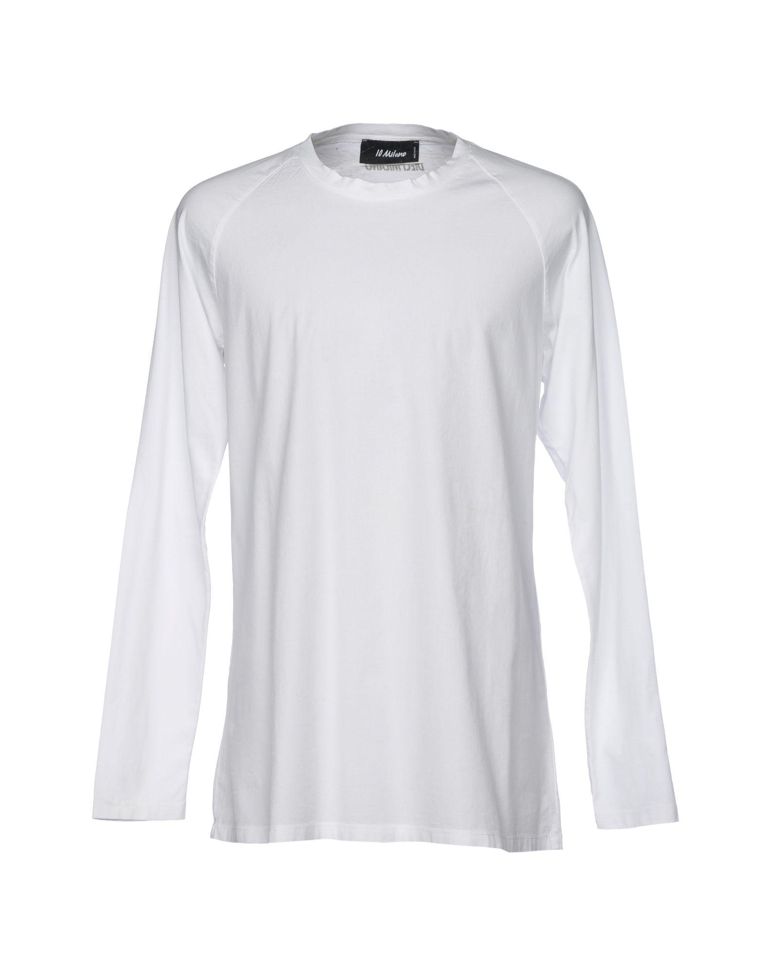 《送料無料》10 MILANO メンズ T シャツ ホワイト L コットン 100%