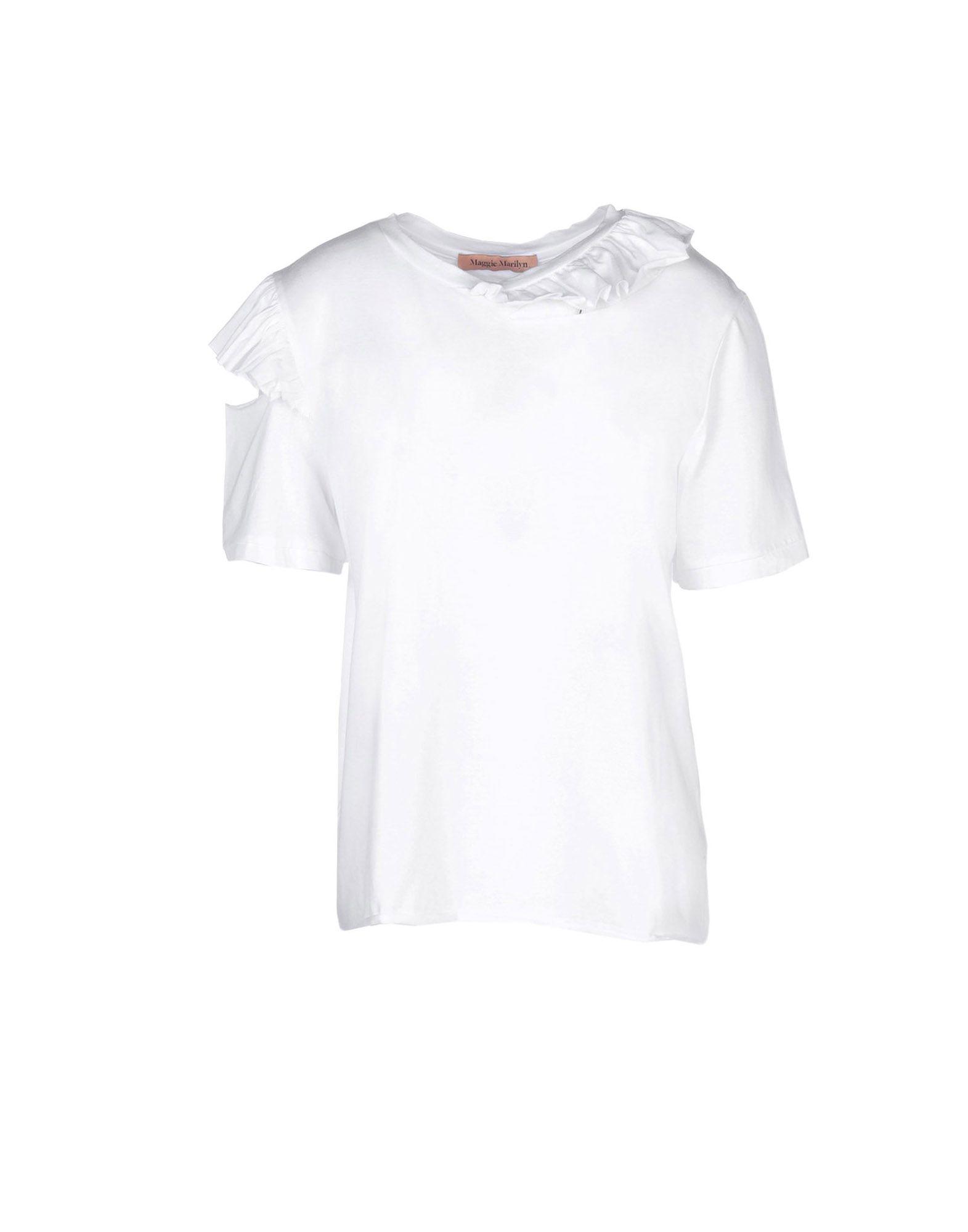 《送料無料》MAGGIE MARILYN レディース T シャツ ホワイト S コットン 100%